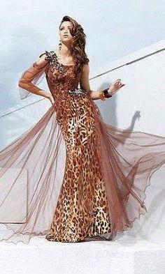 c4f8d66c5c4 Tony Bowls Evenings Brown Leopard Print Formal Dress size 6  fashion   clothing  shoes