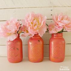 Pink & Gold Painted Jars
