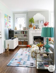 Gorgeous inspiration in this fall home tour. Colorful, eclectic, modern home with turquoise decor accents