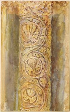 John Ruskin, A pillar carved with an intricate foliage design.