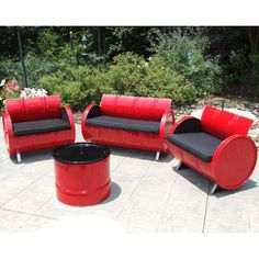 Drum Works Furniture Red Loft Indoor & Outdoor Seating Group Plus, Red & Black - 6 Piece (Pack of As Shown Barrel Furniture, Green Furniture, Old Furniture, Outdoor Furniture Sets, Repurposed Furniture, Furniture Stores, Outdoor Fabric, Indoor Outdoor, Outdoor Decor