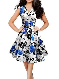 Product: dress Color: blue Material: cotton polyester Dress Length: knee length (depends on the height of the user) Decoration: printed floral Sleeve: sleeveless NOTE: sleeveless,stretchable with belt,(its not thin in fabric) USES: birthday ...