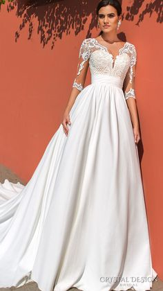 crystal design 2017 bridal three quarter sleeves deep v neck heavily embellished bodice elegant a line wedding dress illusion back royal train (simona) mv