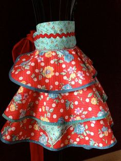 Kitsch Polka Teal Red Apron by Trish Vernazza by VisionsofVenus, $45.55