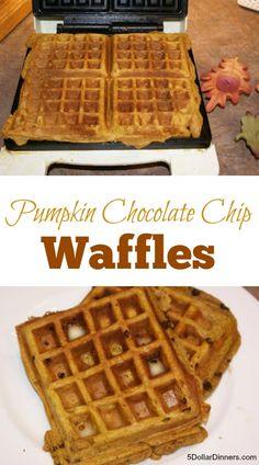 Pumpkin Chocolate Chip Waffles | 5DollarDinners.com