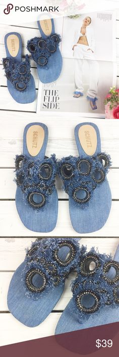 11304656d Schutz Denim Slide Sandals Distressed denim with embellishments. Stylish.  Comfy. Rare style.