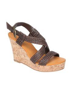 Dark brown braided wedge sandals, £22, Peacocks