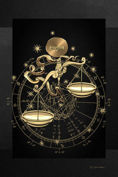 Astrology Digital Art - Western Zodiac - Golden Libra -the Scales On Black Canvas by Serge Averbukh Libra Art, Gemini And Aquarius, Zodiac Art, Libra Zodiac, Zodiac Signs, Libra Tattoo, Pisces Constellation Tattoo, Zodiac Tattoos, Zodiac Constellations