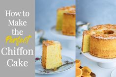 Do you enjoy airy and moist Japanese-style chiffon cakes? Here I share some important tips and techniques on how to make the perfect chiffon cake. Lemon Chiffon Cake, Orange Chiffon Cake, Chiffon Recipe, Chocolate Chiffon Cake, Angel Food Cake Pan, Angel Cake, Cake Flour, Serving Plates, Chocolate Flavors