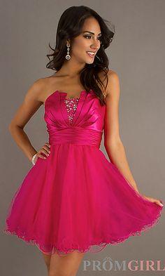 Short Strapless Pink Prom Dress