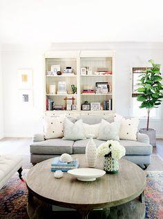 Inside a family's Soft California home - pretty fabric combo of Quadrille and Sarah Richardson fabrics