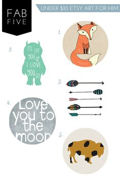 fab five: under $10 etsy art for your little explorer from sarahmstyle.ca