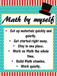 This set includes 3 Daily 3 MATH Behaviors Anchor Charts (Math by Myself, Math with Someone, and Math Writing) in a Turquoise and Red Carnival Theme. I suggest that they be printed on cardstock and then laminated for longer life. Be sure to check my other