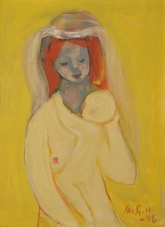 Kai Fjell (Norway 1907-1989) Mor og barn - Mother and Child (1946) oil on canvas 54 x 39 cm