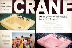 1955 Crane Bathroom Lavatory Sinks Classic Vintage Print Ad 1950s Bathroom, Bathroom Vintage, Vintage Ads, Vintage Prints, Vintage Decor, Print Ads, Sinks, Curiosity, Crane