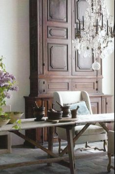 Belgian Armoire & long trestle table..priceless in any space..the Armoire (if two pieces) could be separated for even more impact...