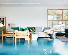 blue hardwood floors!