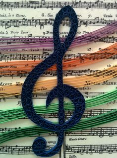 Quilled G clef on music sheet (the panel is 16.5x16.5 cm)
