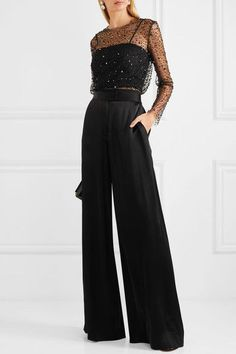 Cocktail attire for women - Reem Acra Embellished tulle and crepe top – Cocktail attire for women Cocktail Attire For Women, Cocktail Outfit, Christmas Party Outfits, Holiday Party Outfit, Birthday Outfits, Birthday Dresses, Look Formal, New Years Eve Outfits, New Years Outfit