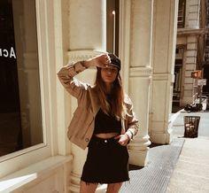 parisian french chic black denim skirt crop top beret trench brown suede jacket