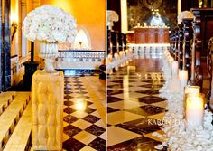 """Charming """"old world"""" wedding aisle decorated with white rose petals."""