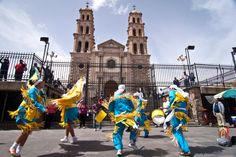 Matachines dancing in front of Juarez cathedral
