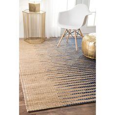nuLOOM Handmade Natural Fiber Flatweave Ombre Jute Blue Rug (7'6 x 9'6) (Blue), Size 8' x 10' (Cotton, Abstract)