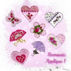 """""""Romantic Applique 1"""" With 8 designs! Butterflies, hearts, butterfly, flower and umbrella...all perfect for romantic creations, bridal showers and Valentine's Day too!"""