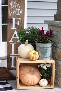 Our Fall Front Porch Fall Porch Decor Displays – Oh Hello Autumn Porch Sign – Pumpkins, Boxes, Farmhouse Porch – … Fall Home Decor, Autumn Home, Front Porch Fall Decor, Outdoor Fall Decorations, Fall Front Porches, Front Porch Decorating For Fall, Front Porch Decorations, Halloween Porch Decorations, Porch Ideas For Fall