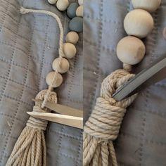 Wood Bead Garland, Diy Garland, Beaded Garland, How To Make Tassels, Bois Diy, Dollar Tree Crafts, Macrame Projects, Diy Crafts To Sell, Handmade Crafts