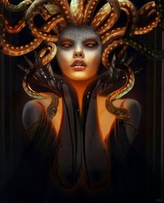 Medusa - Gorgon is one of the oldest and most popular ancient myths. Medusa in Greek mythology is referenced as one of the three Gorgons. Medusa Gorgon, Medusa Kunst, Medusa Art, Medusa Painting, Medusa Drawing, Medusa Tattoo, Greek And Roman Mythology, Greek Gods, Dark Fantasy