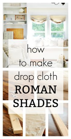 Looking for a unique way to cover your windows? These DIY drop cloth roman shade… Sponsored Sponsored Looking for a unique way to cover your windows? These DIY drop cloth roman shades are easy and a great way to change… Continue Reading → Diy Window Shades, Faux Roman Shades, Rustic Roman Shades, Farmhouse Roman Shades, Diy Window Blinds, Roman Shades Kitchen, Diy Windows, Sunroom Windows, Window Seats