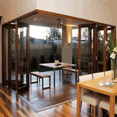 folding glass and wood doors. what's not to love about that?