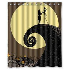 "Halloween Nightmare Before Christmas Waterproof Shower Curtain 60""(w) x 72""(h)"
