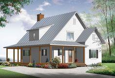 Beautiful & small modern farmhouse house plan!