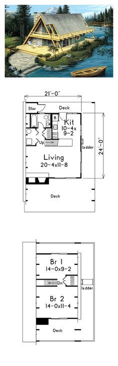 A Frame House Plan 86952 | Total Living Area: 865 sq. ft., 2 bedrooms & 1…
