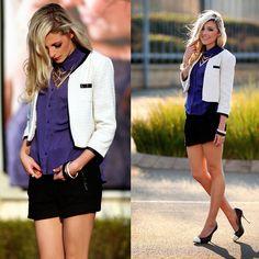 Amanda Custo - Sass Diva Necklace, Jay Jay's Shorts, Forever New Heels, Mr. Forever New, We Heart It, Amanda, Chevron, Diva, Style Me, Autumn Fashion, Vogue, Vest