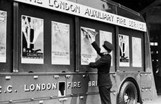 London Fire Brigade vehicle being used for Auxiliary Fire Service recruitment, c.1940.
