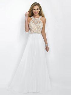 A-Line/Princess Scoop Sleeveless Chiffon Beading Floor-Length Dresses #Joancee #Jewelry