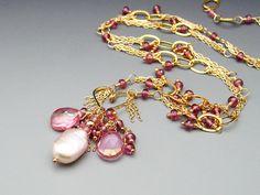 Multi Chain Necklace Pink Topaz Rhodolite Garnet and by mshafran, $259.99