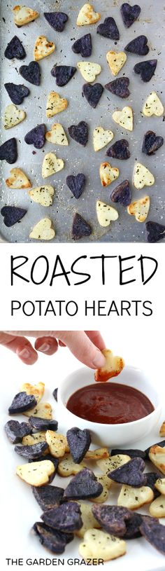 These are so fun!!! Roasted potato hearts - serve them as cute little dippers or a festive side dish! (vegan, gluten-free)