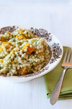 Israeli Couscous with Butternut Squash and Cilantro Sauce - I have the hubby loving this kind of couscous, now, to change it up a bit with a new recipe!