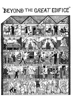 'Beyond The Great Edifice' by John Broadley for Quo Vadis Restaurant, Soho, London Comic Poster, National Portrait Gallery, Art Techniques, Graphic Illustration, Illustrators, Behind The Scenes, City Photo, Photo Wall, Drawing