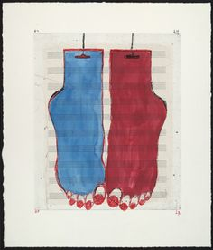 Louise Bourgeois. Feet, state I, variant. 1999 Drypoint with watercolor and ink additions and music paper collé