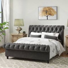 Fresh pictures of sleigh beds Figures, Velvet Upholstered Bed, Upholstered Bed Frame, Upholstered Platform Bed, Headboard And Footboard, Sleigh Bed Painted, Sleigh Beds, King Storage Bed, Bed Images