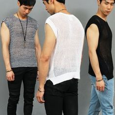 Sexy Guy Slim Fit See Through Mesh Knit Vest