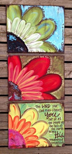 Something similar - 4 canvases all with part of the flower when you place them together it makes up one whole picture