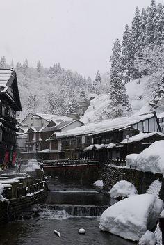 Ginzan hot spring, Yamagata, Japan.