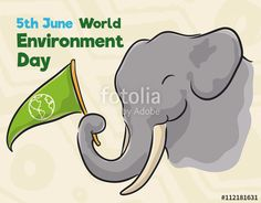 Elephant with Pennant Commemorating World Environment Day in Watercolor Style