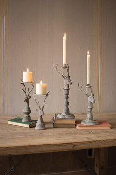 Kalalou Deer Pillar Candle Holders - Set Of 2  - Set of 2 deer pillar candle holders makes a great festive or everyday decor. Made of metal. – Modish Store
